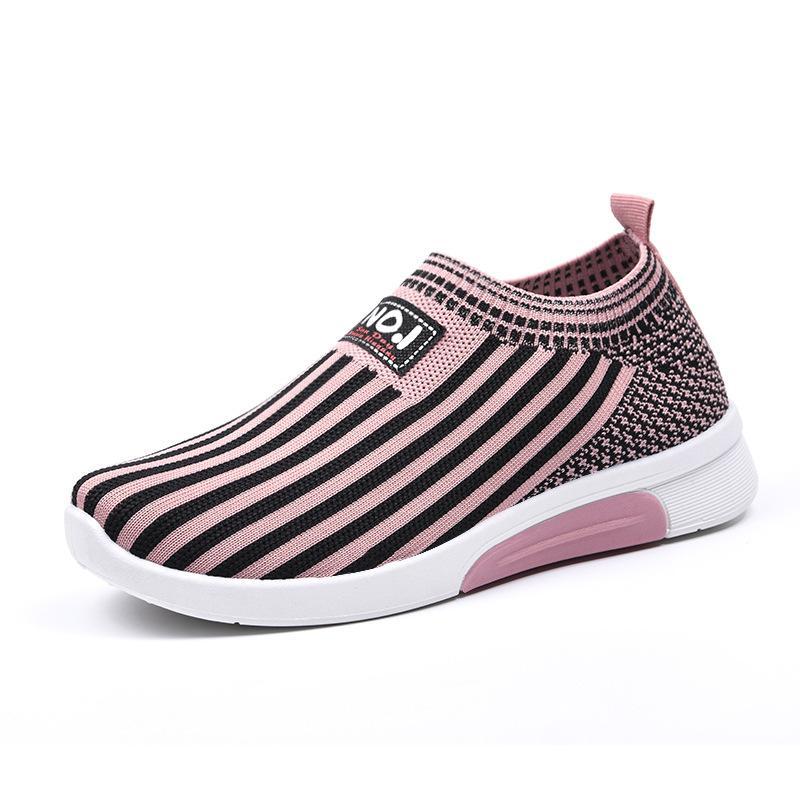corriendo salvaje zapatillas de deporte 2019 de las nuevas mujeres de la manera ocasional rayas zapatos perezosos Plataforma zapatos del patín femenino transpirable zapatos G01