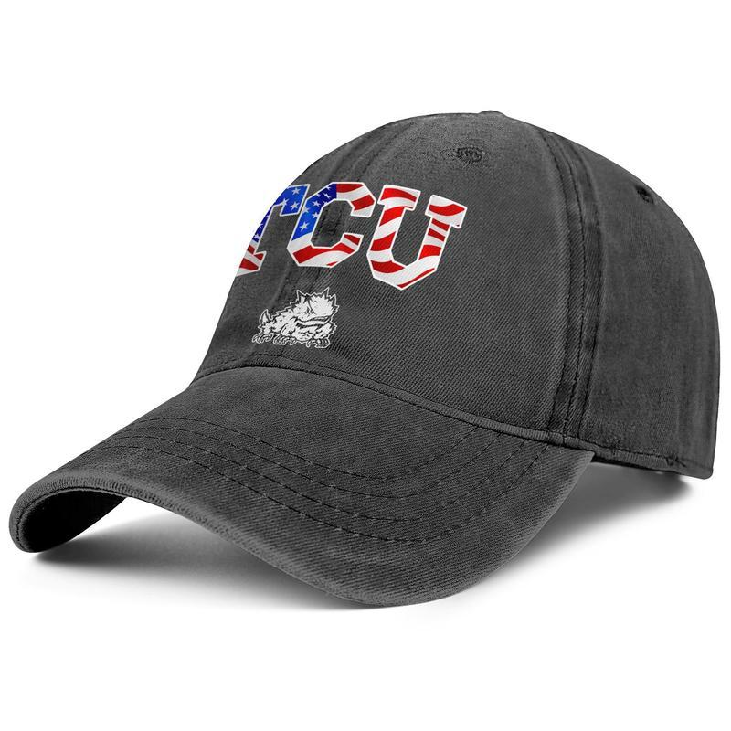 TCU Horned Frogs football USA flag logo Unisex denim baseball cap fitted vintage personalized classic hats Gray Camouflage Effect Flag