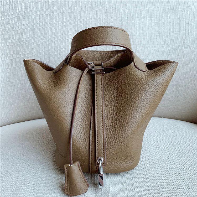 Sac en cuir de vache femmes seau en cuir véritable sac à main coloré Litchi Mode Femme shopping sac fourre-tout Composite
