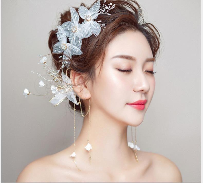 Свадебная тиара белые аксессуары для волос уха повесить корейский стиль Хуан пряжа цветы сладкая пара простых и элегантных свадебных украшений