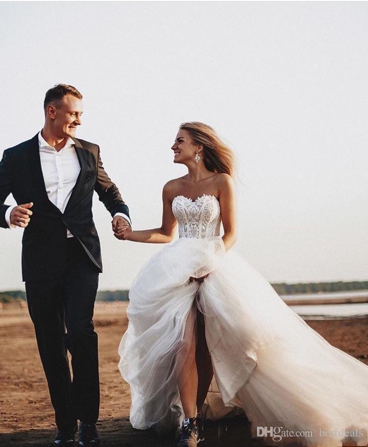 2019 Rustic Wedding Dresses Sweetheart Lace Appliques Romantic Tulle A-Line Bridal Gowns Boho Beach Wedding Vestidos De Novia