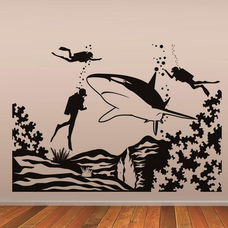 Three Scuba Divers And Shark Wall Stickers Seabed Scenery Wall Decals Home Decor Wall Art Murals Living Room Bedroom Decoration