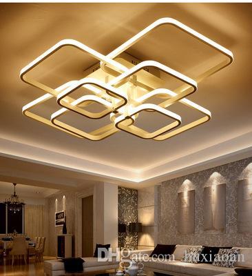 Praça LED circel Anéis teto Luzes AC85-265V Acrílico Modern Led teto Lâmpadas Luminárias para Sala Quarto EMS