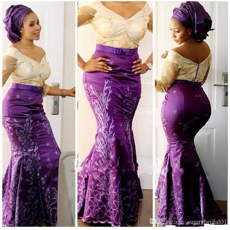 Aso Ebi Style Plus Size Prom Dresses 2020 V Neck Lace Illusion Long Sleeve Mermaid Evening Gowns Purple Satin Formal Party Dresses