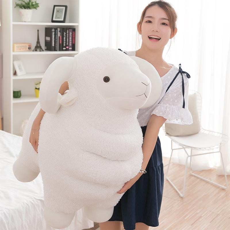 Dorimytrader giant cute white sheep plush toy kawaii animals goat doll pillow for childend gift deco teacing prop 60cm 80cm DY50559