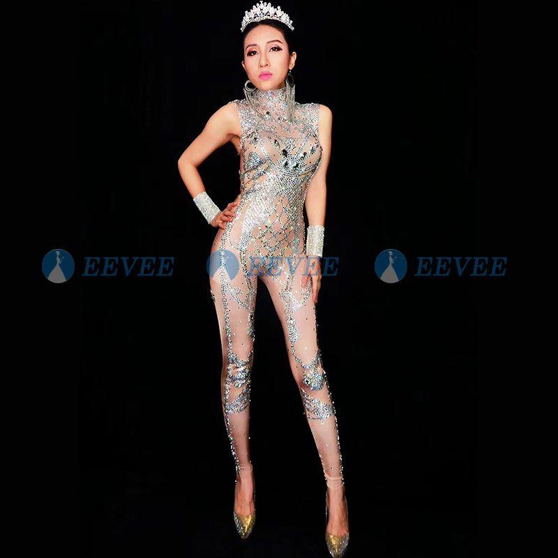 2019 Strass sexy da donna Body Stage Outfit femminile Cantante Nude Leggings Nightclub Costume Dance Tuta