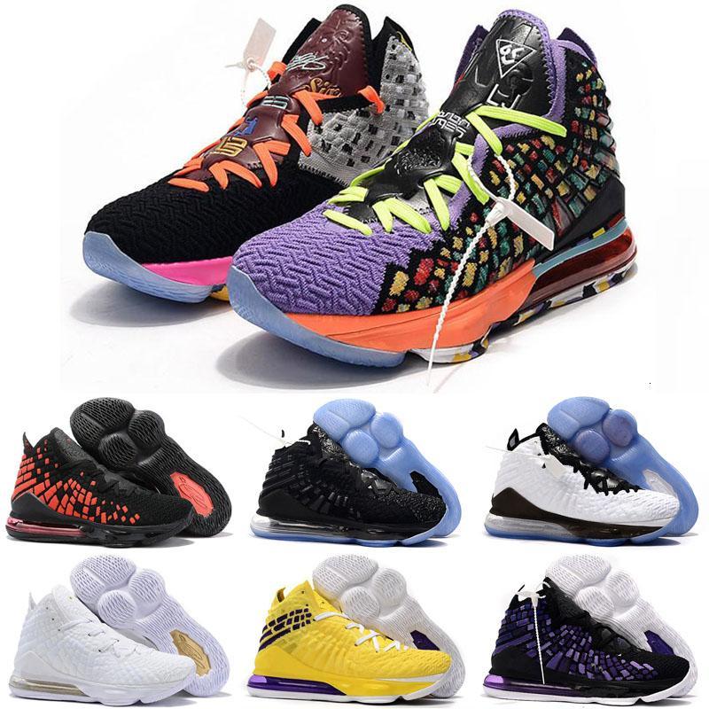 O que o James 17 Shoes Xvii Homens Mulheres Jovens Preto Roxo Amarelo Sports Basquetebol de alta qualidade James 17s Formadores Sneakers Tamanho 36-46