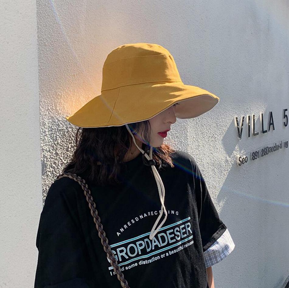 النساء ضعف الجانب الصياد كاب قبعة دلو السفر في الهواء الطلق أحد كاب شاطئ الصيف قناع قبعات LJJO7664