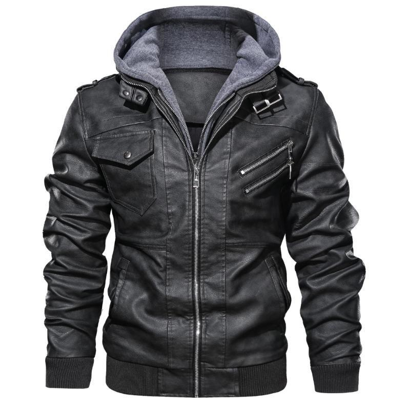 Mens Jacket Quente Motorcycle Inverno Jaqueta de couro blusão com capuz PU Masculino Casacos casacos impermeáveis e casacos para homem