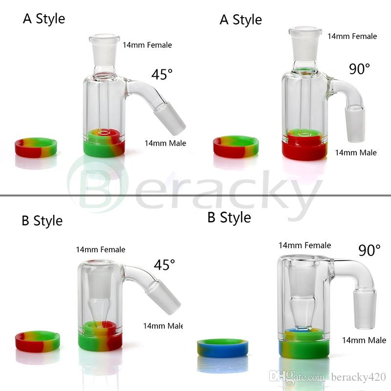 New 14mm 18mm Male Female Glass Ash Catcher With 10ML Silicone Container Reclaimer Ashcatchers For Quartz Banger Glass Water Bongs Dab Rigs