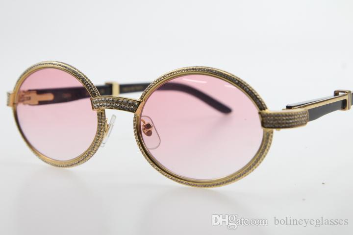 الجملة 7550178 الأسود بافالو القرن نظارات شمسية 7550178 جولة للجنسين مصمم إطار كامل أصغر الحجارة الكبيرة الفضة الوردي عدسة النظارات