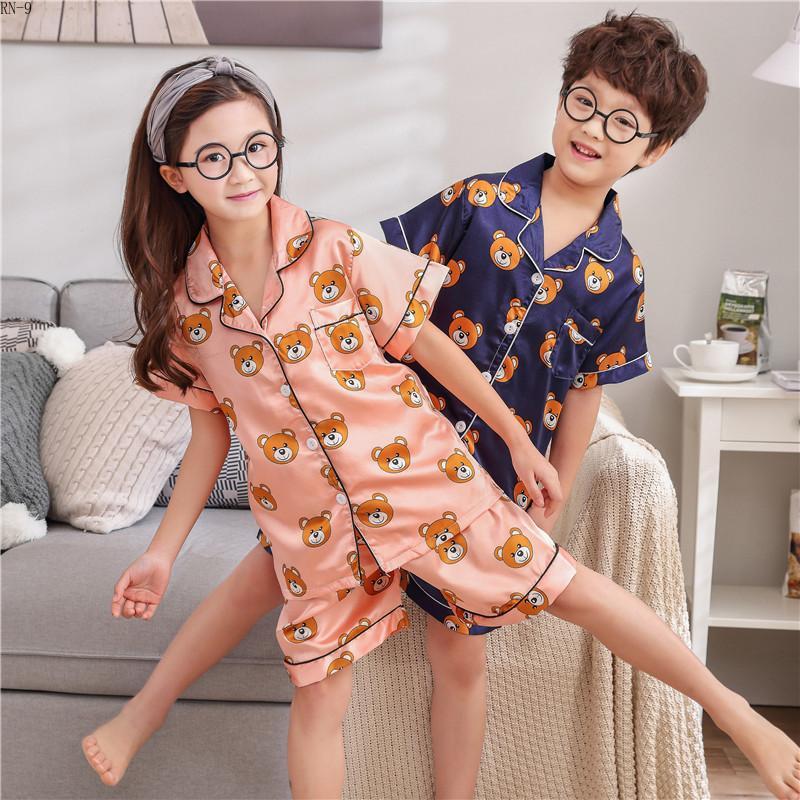 Crianças de verão Pijama Terno De Seda 2019 Pijama Set Meninos de Manga Curta Magro Dos Desenhos Animados de Cetim Bebê Casa Roupas Conjuntos de Pijama Crianças J190520