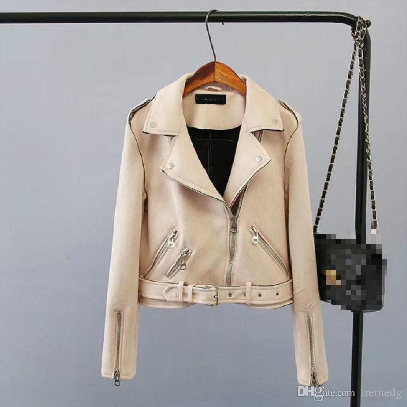 Kadınlar kış ceket 2019 Lika Rulla Üst Marka S-XL Yeni bahar Moda Parlak Renkler Bayanlar Süet Ceket Temel Sokak Kadın Kısa PU Deri