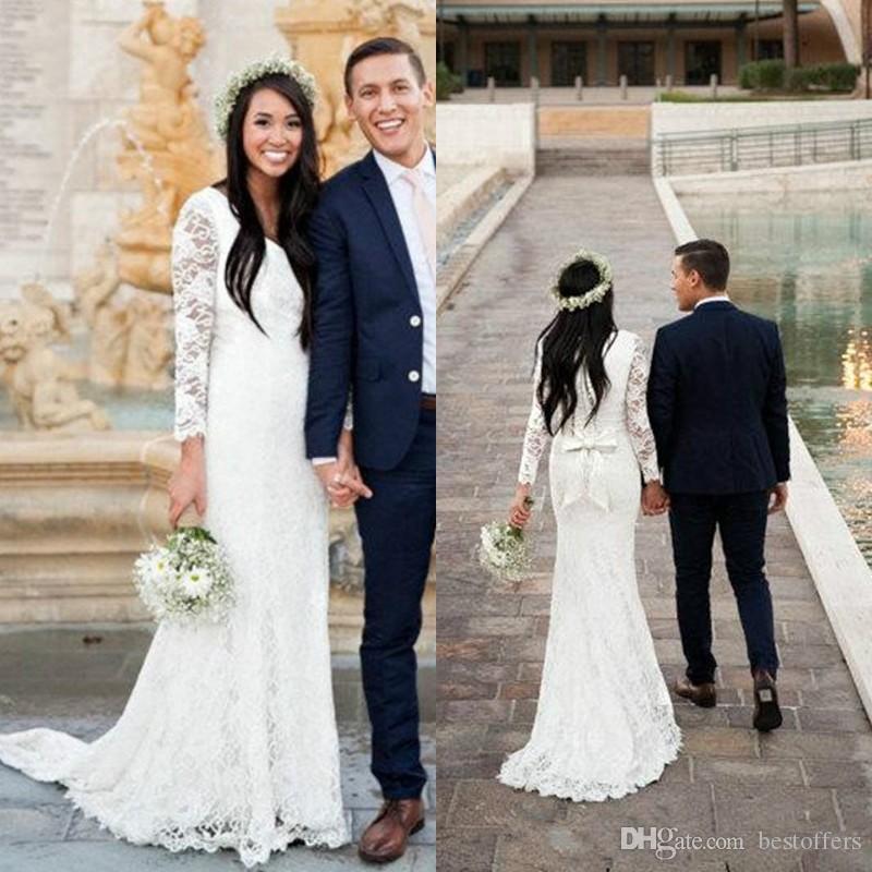 긴 소매 V 목 단추 후면 사원 신부 드레스 겸손한 맞춤 제작으로 2020 섹시한 간단한 레이스 공주 긴 겸손한 웨딩 드레스