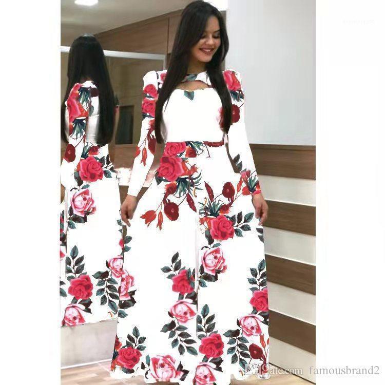 Robes sexy Fleur manches courtes Jupes longues Big Maxi Dress Summer 2020 Spring New Robes Casual Floral femmes Imprimer