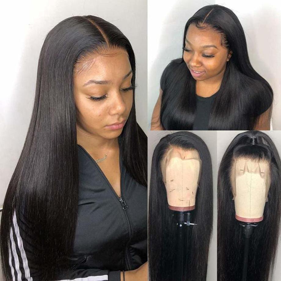 13 * 6 Dantel Ön İnsan Saç Peruk İçin Kadınlar Siyah Renk Peru Dantel Peruk Frontal Mızraplı Tam Remy saç