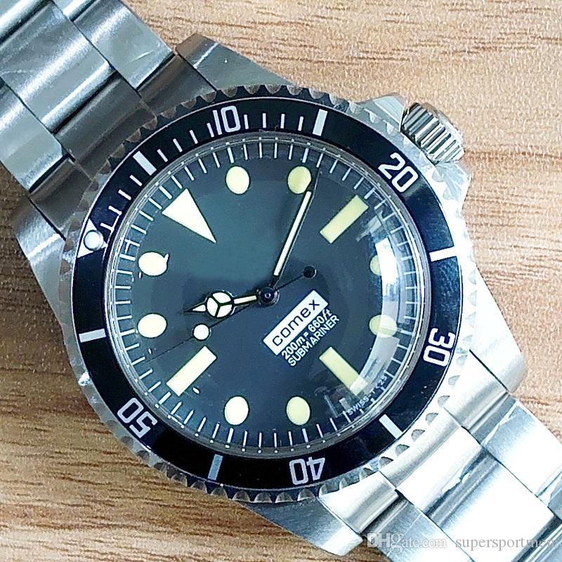 Melhor Qualidade de pulso Vintage 5514 Aço Perpetual mecânico automático inoxidável Homens Homens Relógios de pulso