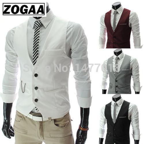 2019 nuovo arrivo Abito Gilet For Men Slim Fit Mens Suit Vest maschile Gilet Gilet Homme maniche casual Rivestimento convenzionale Affari