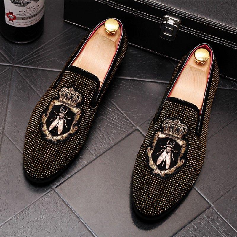 Doudou sapatos de couro de alta qualidade, conjunto de sapatos, broca de água respirável sapatos casuais, mocassins de boate mens designer slidesW44