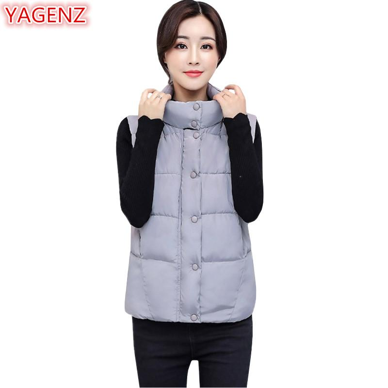 YAGENZ Women Cotton Clothing Vest Jacket Autumn Winter Women Clothing Short Section Large Size Student White Vest Tops 575