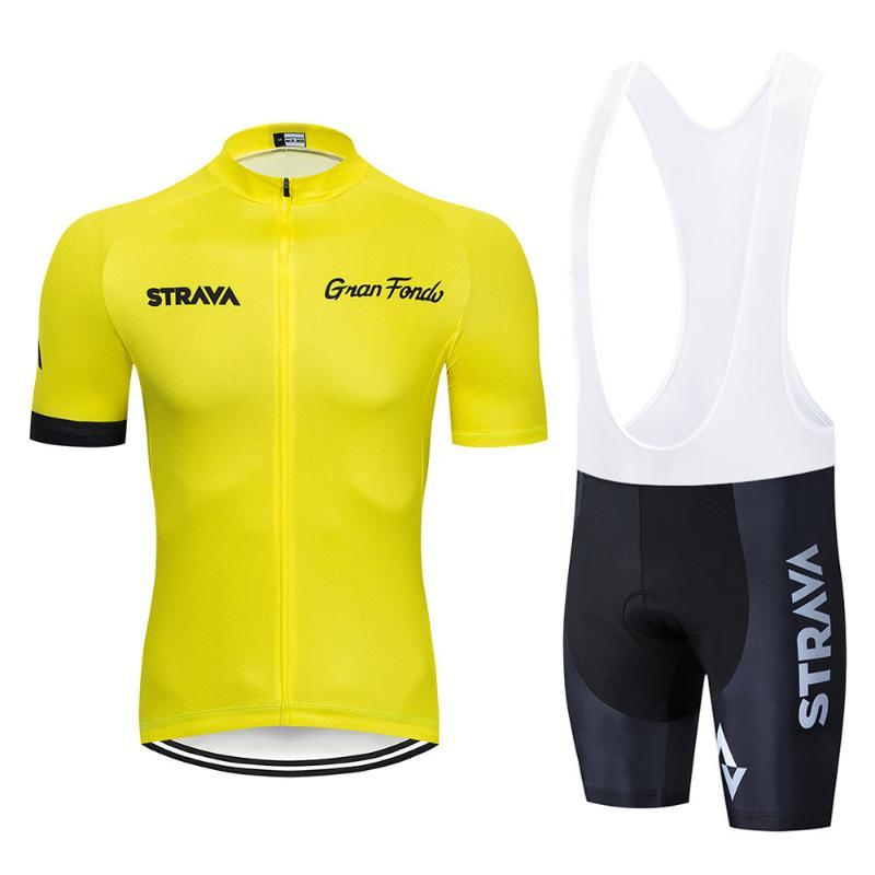 Pantaloncini ciclismo 노란색 STRAVA 사이클 유니폼 팀 MAGLIA 2020 새로운 여름 자전거 의류 젤 짧은 세트를 imposta