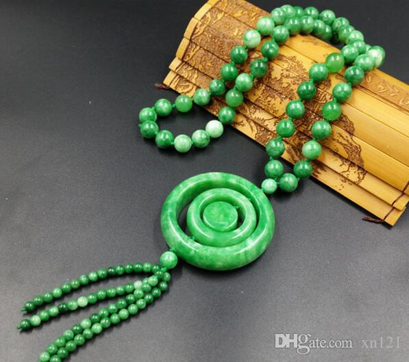 Popular natural jade buckle Necklace sweater chain necklace fashion accessories to send men and women friends and family