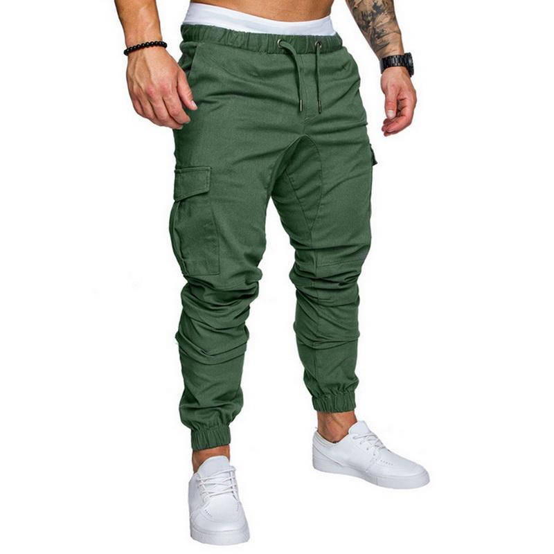 Oeak nuevos hombres Multi-bolsillo del pantalón elástico de la cintura pantalón pantalones masculinos de Hip Hop de los hombres pantalones casuales sólidos Streetwear Joggers