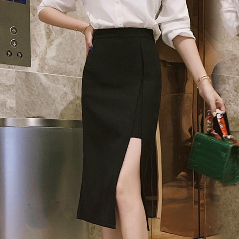 Faldas mujer moda 2020 saias womens sexy Side dividir senhoras escritório saia de verão lápis preto saia mulheres de cintura alta C836