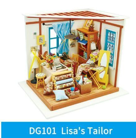 غرفة ديكور المنزل تمثال DIY سام دراسة الخشب مصغرة نموذج أطقم الديكور دمية هدية عيد ميلاد لفتاة هدية عيد الميلاد