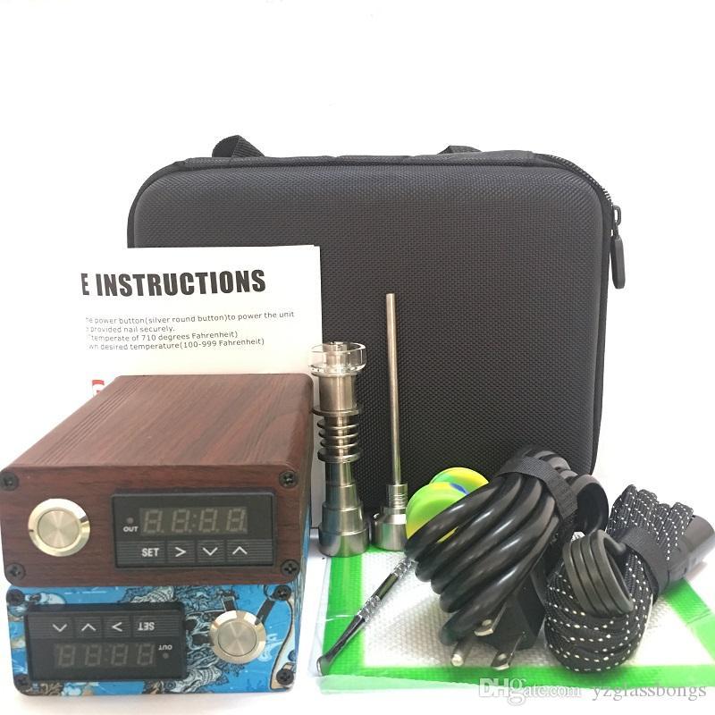 Quartz eNail Kit Boîte à Ongles Électrique Dab Quartz TI Titane et Bouchon Carb Carbone 14 18 MM Contrôleur de Température Mâle Verre Bongs