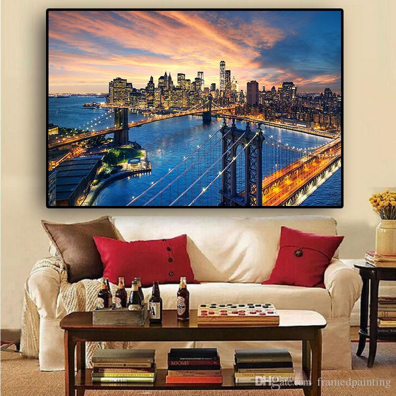 2019 New York City Brooklyn Bridge Manhattan Sunset Canvas Painting Posters And Prints Scandinavian Wall Art Picture No Frame From Framedpainting