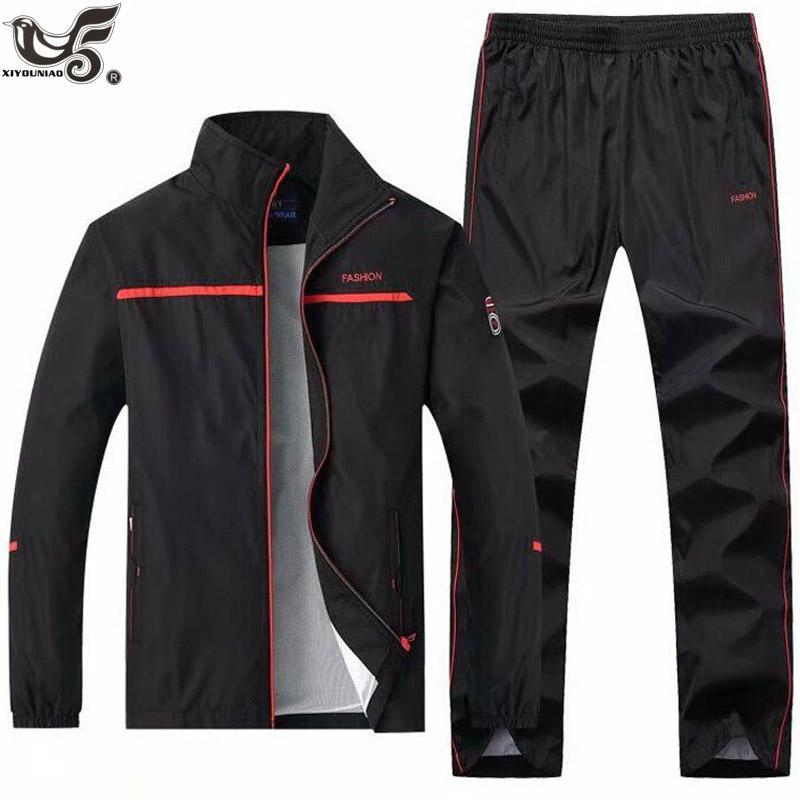 Uomo casuale tuta a maniche lunghe zip intera corso jogging sport giacca e pantaloni set outwear pista abbigliamento sportivo uomini del vestito