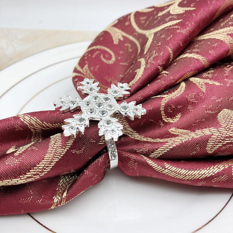 1pc Guardanapo anéis de guardanapo casamento Holder Banquet Ornament Decor Tabela Jantar Hotel Table Decor Snowflake Diamante