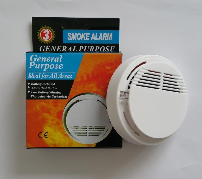 الأبيض اللاسلكي دخان نظام الكاشف مع 9V بطارية تعمل إنذار حساسية عالية مستقرة الحريق استشعار مناسبة لكشف أمن الوطن