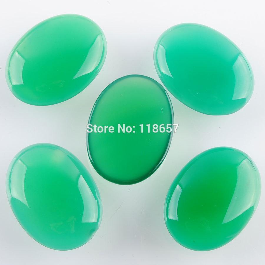 Бесплатная доставка природные зеленые Агаты драгоценные камни Овальный кабошон кабины нет сверла отверстие 30x40x8mm ювелирные изделия 5 шт. / лот IU3139