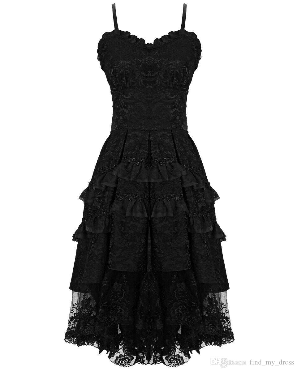 Open Back Tea Length 2019 Spaghetti Straps Short A Line Tiered Gothic Prom Dress Black Lace Formal Party Gown Hot Selling Special Occasion