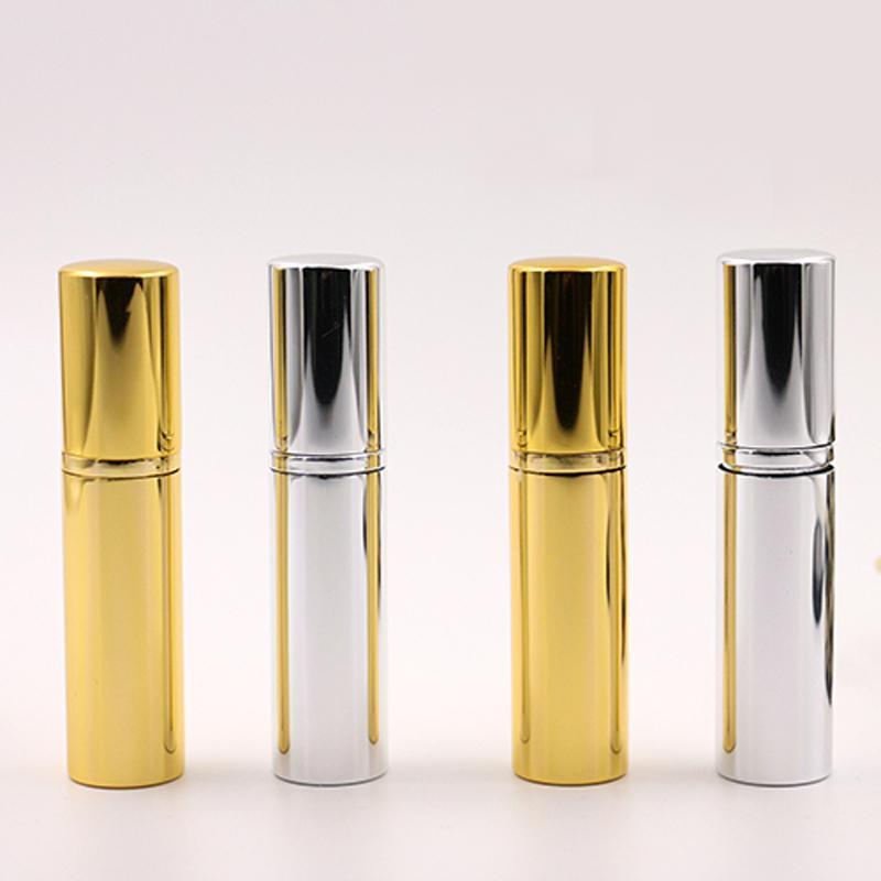 Parlak Altın Gümüş 5ml Doldurulabilir Taşınabilir Mini parfüm şişesi Gezgin Alüminyum Atomizer Parfum boşalt Spray