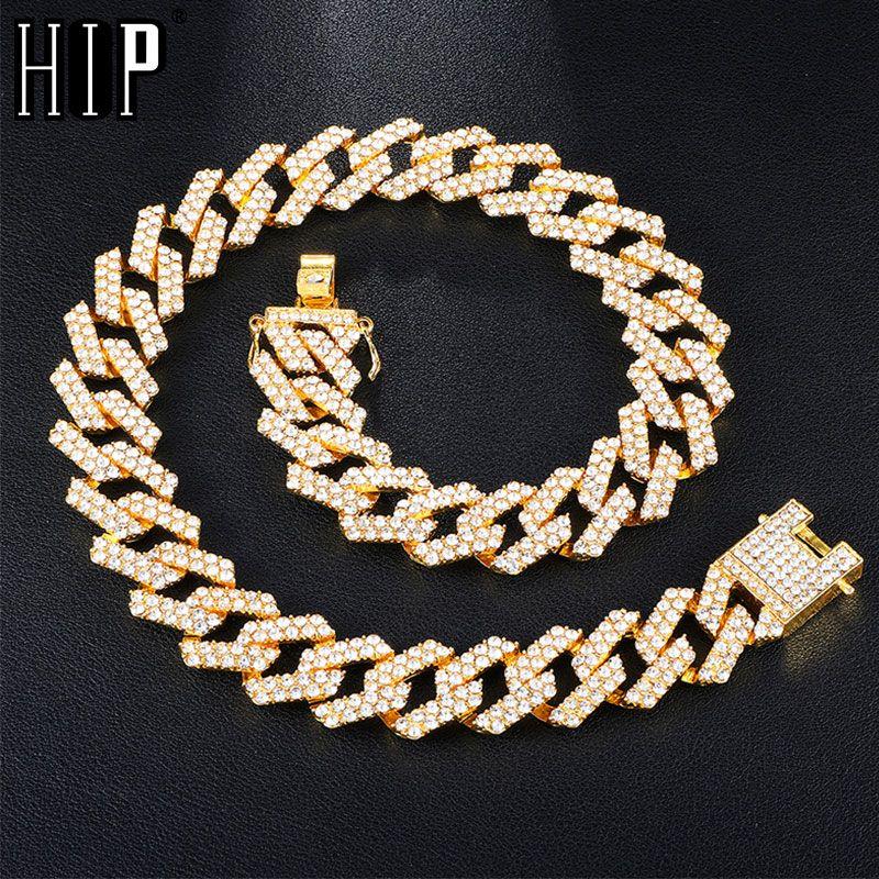 Hip Hop 1Régler 20MM Or Argent lourd pleine Glacé Pavée strass cubain chaîne CZ Bling Rapper Colliers pour hommes Bijoux