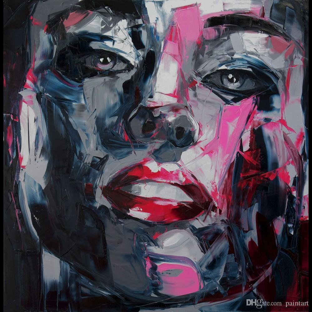 Francoise Nielly Malmesser Impression Startseite Künstler Moderne Porträt Handgemachte Ölgemälde auf Leinwand Konkav und Konvex Texture Face122