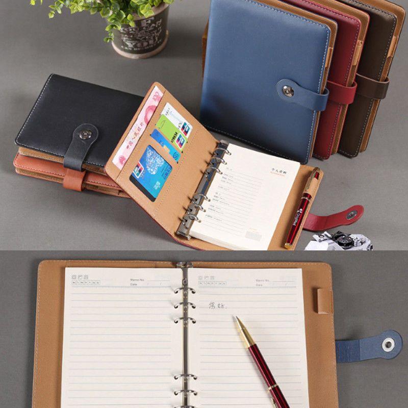 PU Leather Loose Leaf Notebook Organizer Business Planner Calendar travel journal vintage notebook planner A5 A6