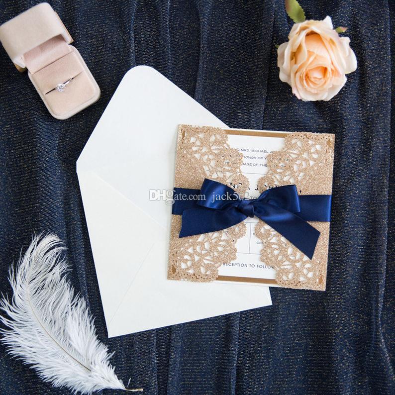 Convite do casamento de Rosa do brilho do ouro Laser Cut quadrado do casamento convites tradicionais do brilho do ouro personalizado convites de casamento Cartão de Corte Laser