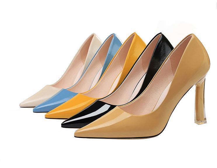 Scarpe tacco alto donna a punta le dita dei piedi 8.5cm Thin Heels Pompe signore Stiletto Party Dress in pelle Vernice Scarpe donne pompa