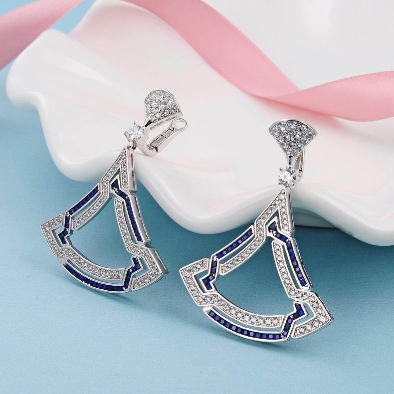 FASHION- d'oreilles en or des femmes S925 Boucle d'Argent Marque Fan Boucles d'oreilles Bijoux Femme Zircon Stud Oreille
