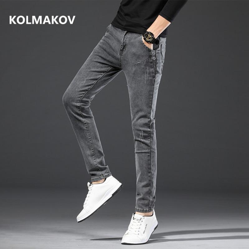 2020 nova chegada de alta qualidade casuais calça jeans cinza magro homens, calças lápis dos homens, skinny jeans homens casual Slim Fit Calças
