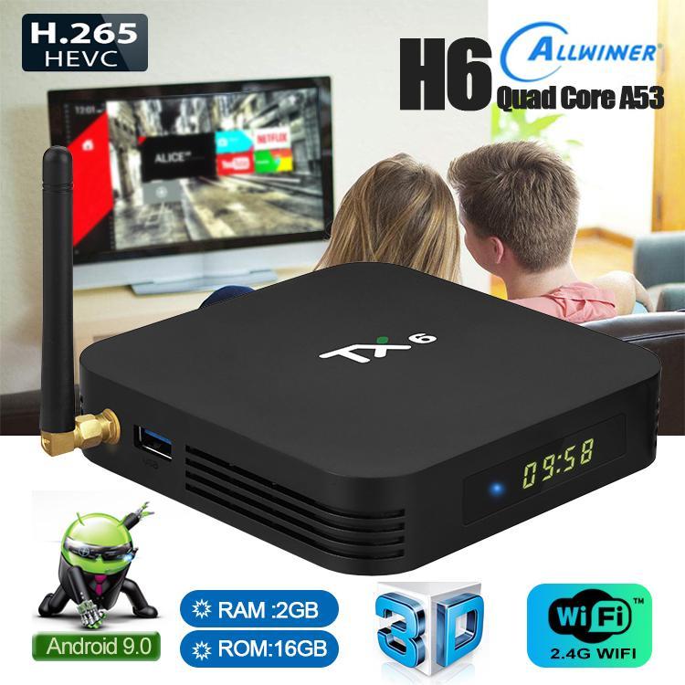 TX6 Android 9.0 TV BOX 2GB/4GB Ram 16GB/32GB/64GB Rom Allwinner H6 Quad Core 2.4G+5G With BT 5.0