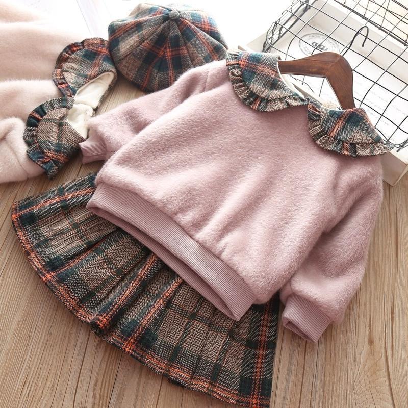 Hot Sale Autumn Winter Baby Girls Princess Dress Three-Piece Suit Children Add Wool Coat Western Short Skirt