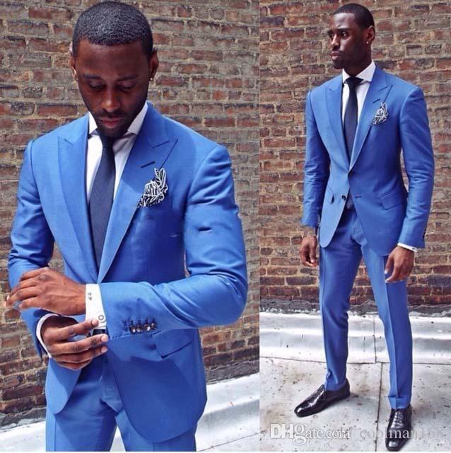 슬림 피트 블루 맨 웨딩 턱시도 피크 옷깃 두 버튼 신랑 턱시도 인기 드레스 남성 비즈니스 Dinner / Darty Suit (Jacket + Pants + Tie) 314