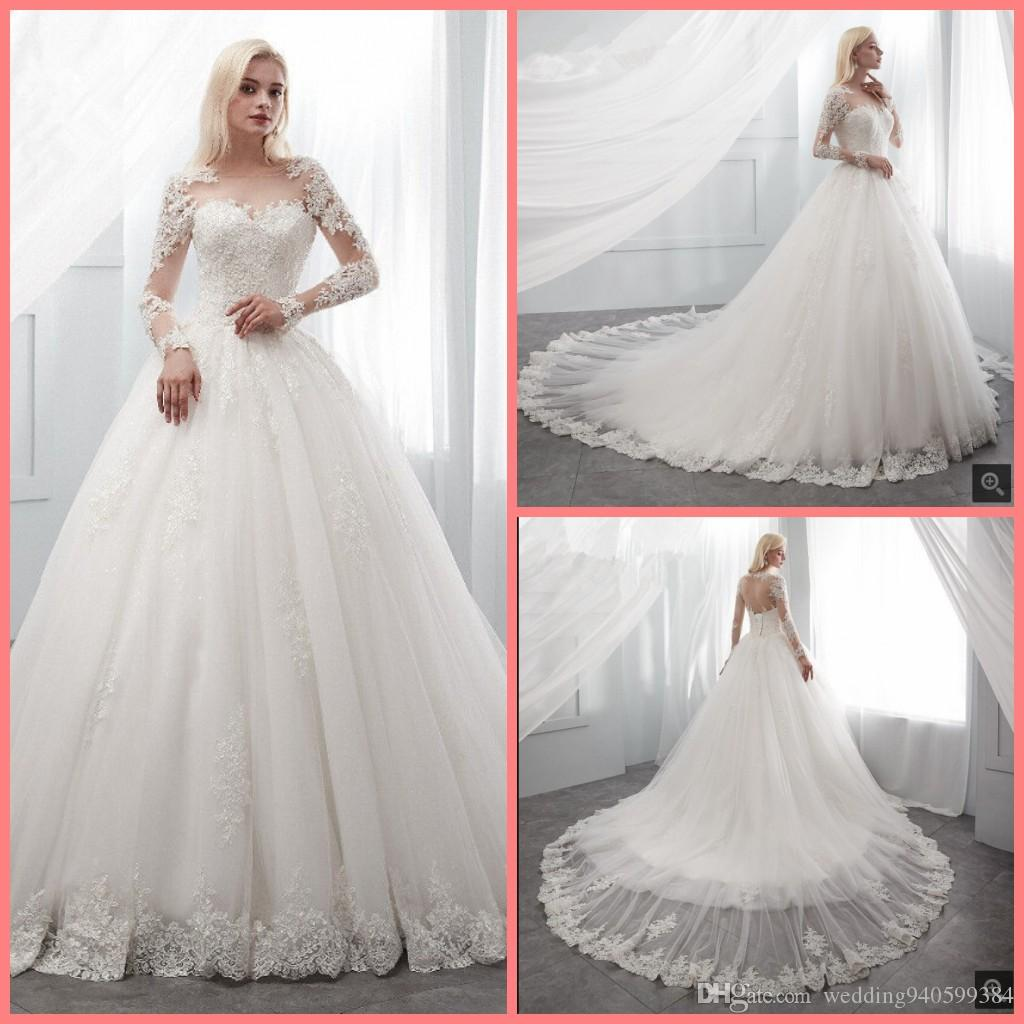 2019 Ball Gown White Lace Appliques