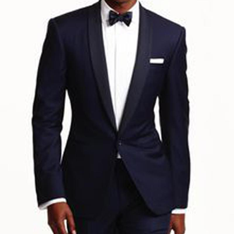 신랑 착용 목도리 라펠 원 버튼 스키니 스타일 두 조각 웨딩 턱시도 2020 네이비 블루 비즈니스 남성 정장 (자켓 + 바지)