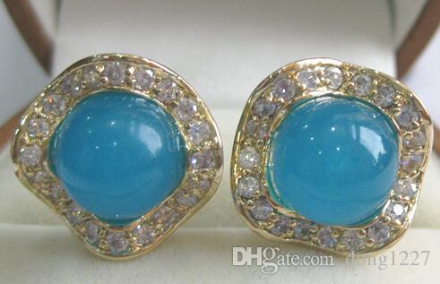 Venta al por mayoring moda muy 8mm redondo azul jade Natural e de cristal das mulheres está bem pendente de plata la joyería